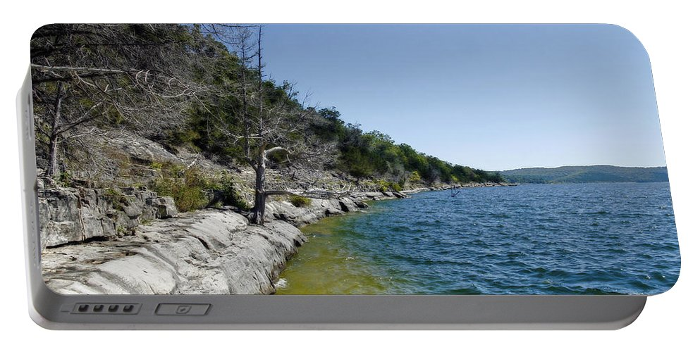 Table Rock Lake Portable Battery Charger featuring the photograph Table Rock Lake Shoreline by CE Haynes
