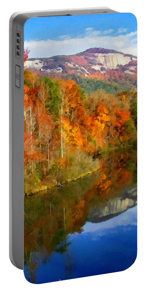 Table Rock Portable Battery Charger featuring the painting Table Rock Mirrored by Lynne Jenkins