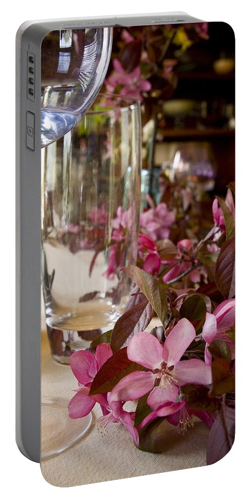 Table Portable Battery Charger featuring the photograph Table Setting by Sandy Swanson