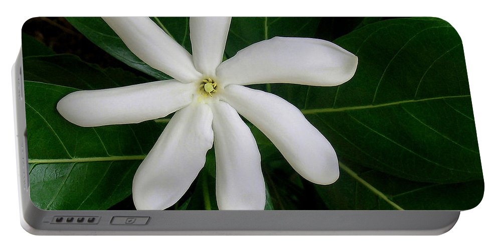 Tahitian Tiare Portable Battery Charger featuring the photograph Tahitian Gardenia by James Temple