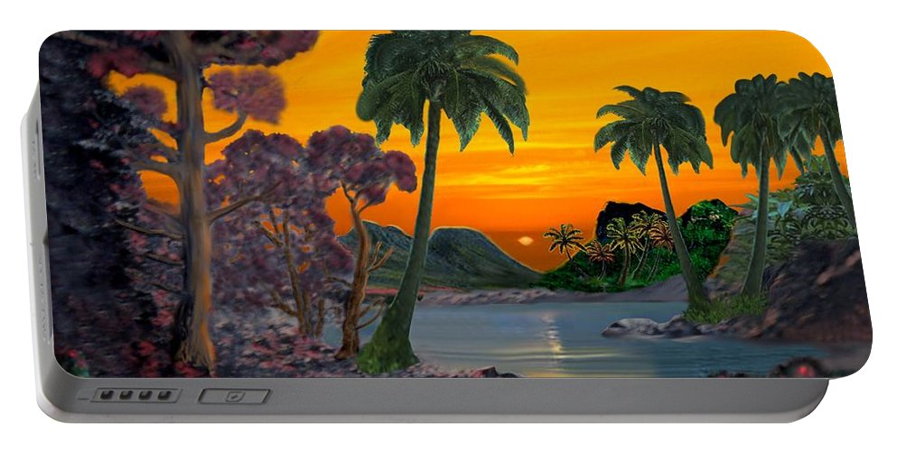 Tahitian Sunset Portable Battery Charger featuring the digital art Tahitian Sunset by Glenn Holbrook