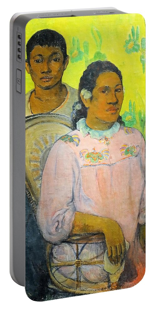 Paul Gauguin Portable Battery Charger featuring the painting Tahitian Woman And Boy by Paul Gauguin