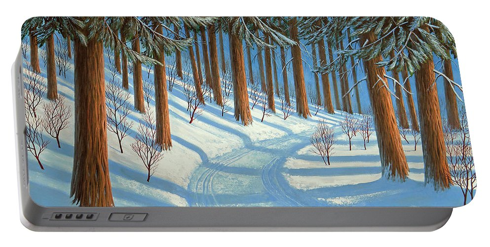 Tahoe Portable Battery Charger featuring the painting Tahoe Forest In Winter by Frank Wilson