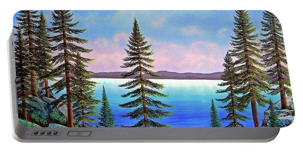 Gouache Portable Battery Charger featuring the painting Tahoe Pines by Frank Wilson