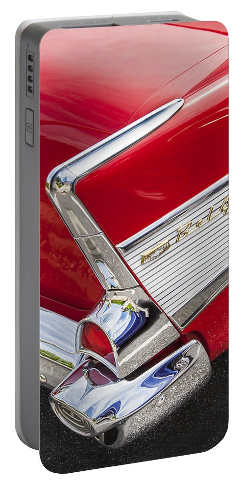 1957 Chevy Portable Battery Charger featuring the photograph Tail Fins Are In 1957 Chevy by Rich Franco