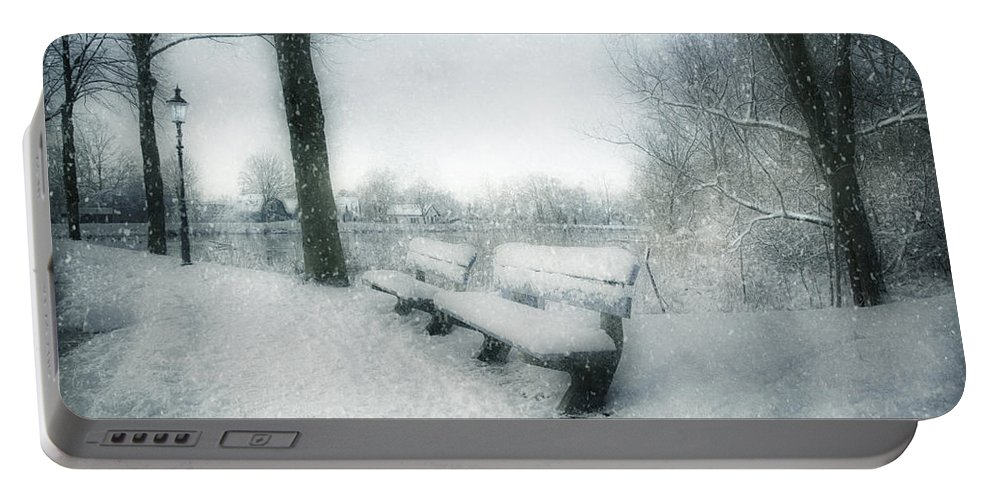 Snow Portable Battery Charger featuring the photograph Take A Seat by Annie Snel