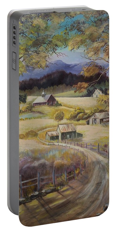 Road Portable Battery Charger featuring the painting Take Me Home by Gladys Berchtold
