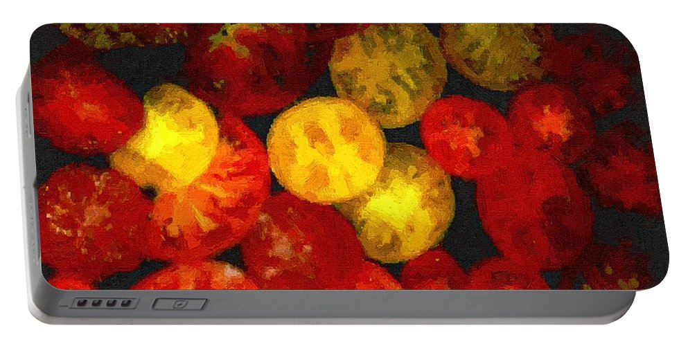 Tomatoes Portable Battery Charger featuring the painting Take Your Pick by RC DeWinter