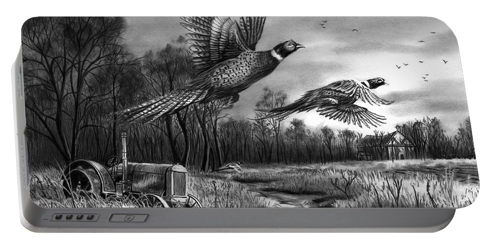 Taking Flight Portable Battery Charger featuring the drawing Taking Flight by Peter Piatt