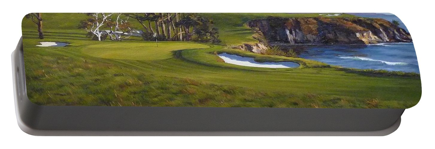 Pebble Beach Golf Links Portable Battery Charger featuring the painting Taking The Fifth by Shelley Cost
