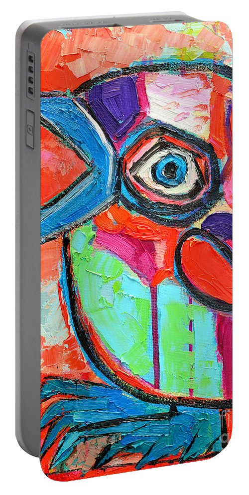 Baby Portable Battery Charger featuring the painting Talkative Baby Bird First This Spring by Ana Maria Edulescu
