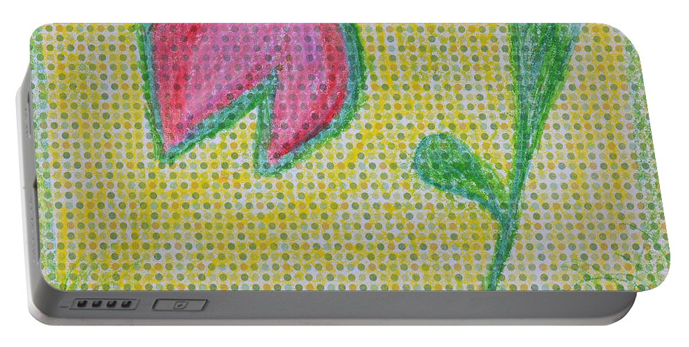Garden Portable Battery Charger featuring the painting Talking In The Garden by Donna Blackhall