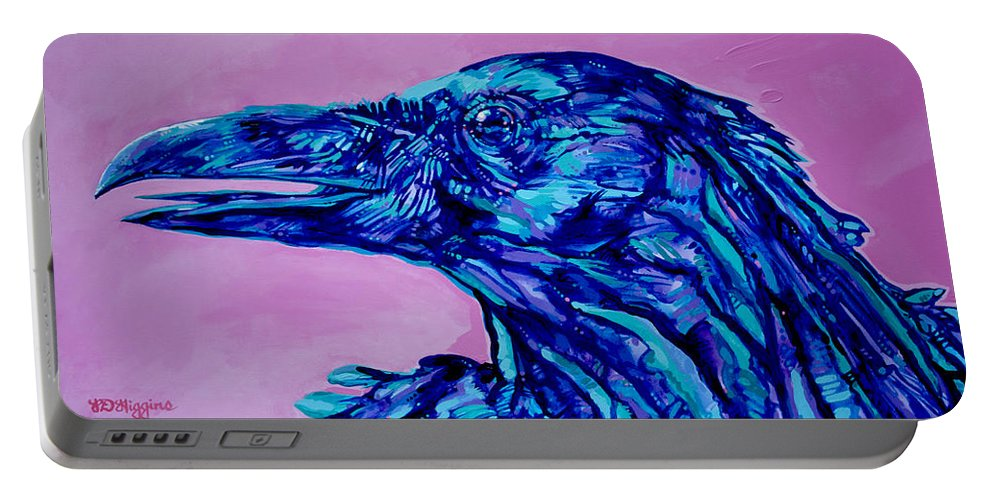 Raven Portable Battery Charger featuring the painting Talking Raven by Derrick Higgins
