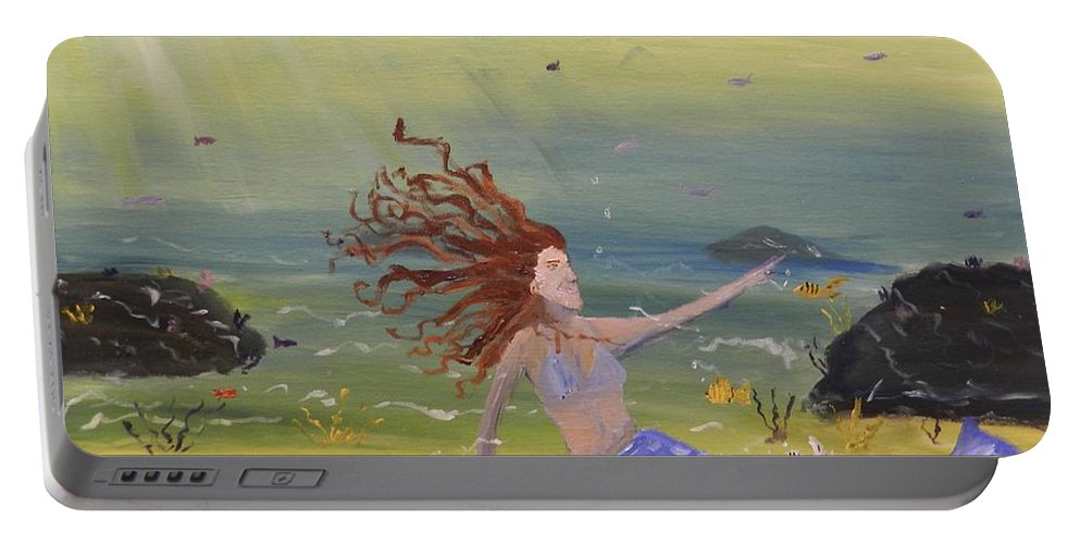 Mermaid Portable Battery Charger featuring the painting Talking To The Fishes by Pamela Meredith