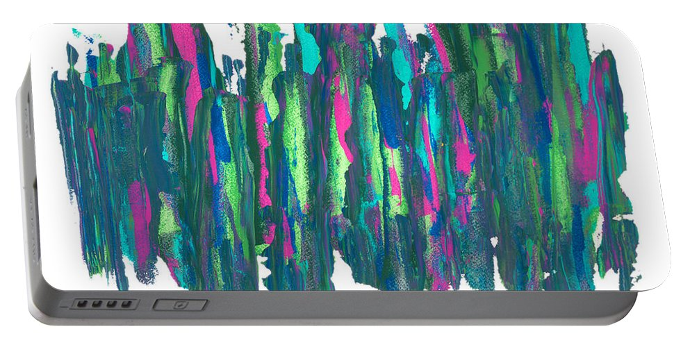 Abstract Portable Battery Charger featuring the painting Talking Walking by Bjorn Sjogren