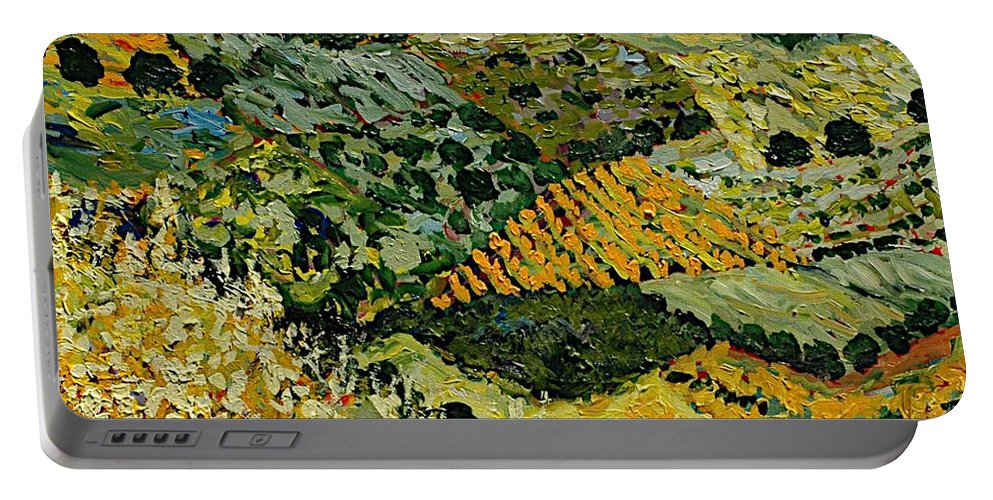 Landscape Portable Battery Charger featuring the painting Tall Grass by Allan P Friedlander