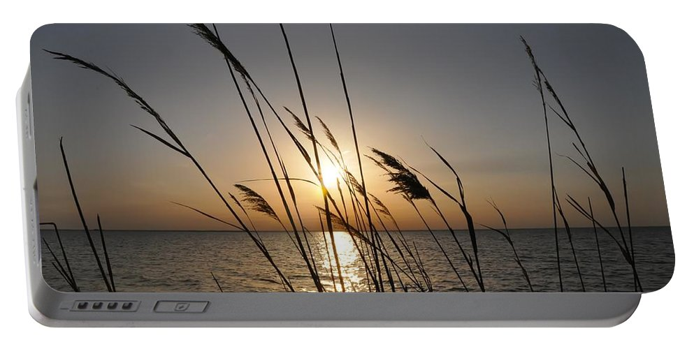 Sunset Portable Battery Charger featuring the photograph Tall Grass Sunset by Bill Cannon
