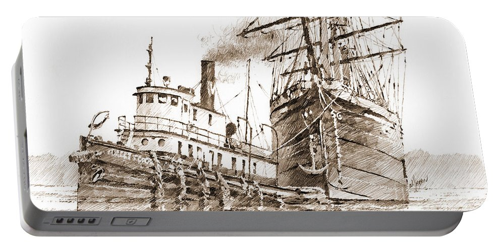 Tall Ship Drawing Portable Battery Charger featuring the drawing Tall Ship Assist Sepia by James Williamson