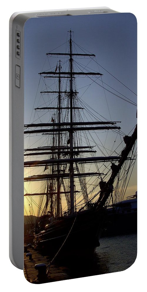 Ibiza Portable Battery Charger featuring the photograph Tall Ship In Ibiza Town by Steve Kearns