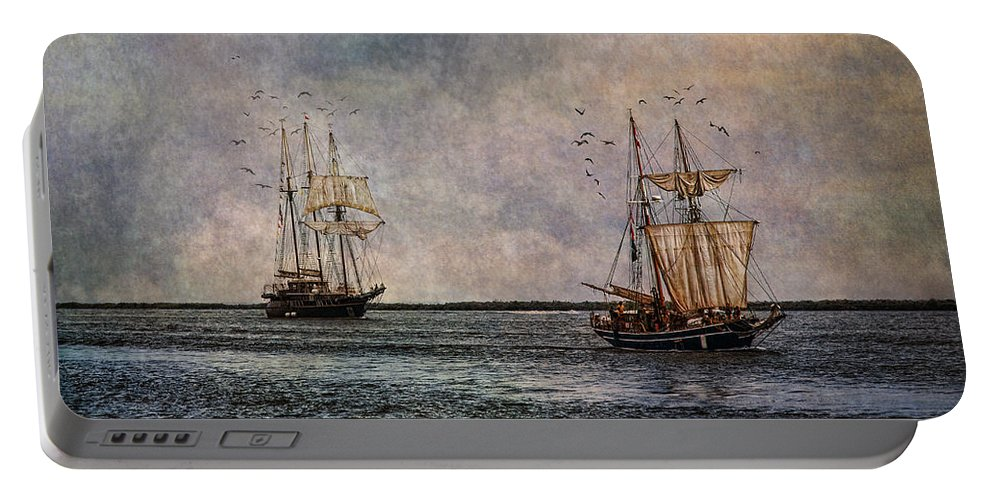 Tall Ships Portable Battery Charger featuring the photograph Tall Ships by Dale Kincaid