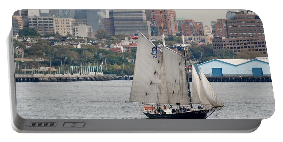 New York Portable Battery Charger featuring the photograph Tall Ships In The Harbor by Rob Hans