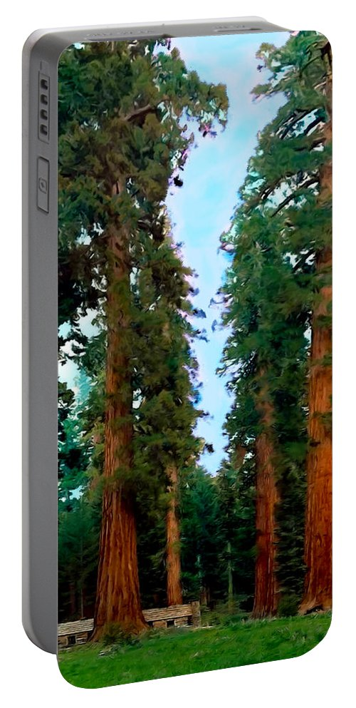 Yosemite National Park Portable Battery Charger featuring the photograph Tall Trees In Yosemite National Park by Bob and Nadine Johnston