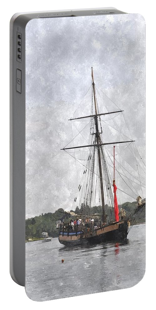 Ship Portable Battery Charger featuring the digital art Tallship Providence Prwc by Jim Brage