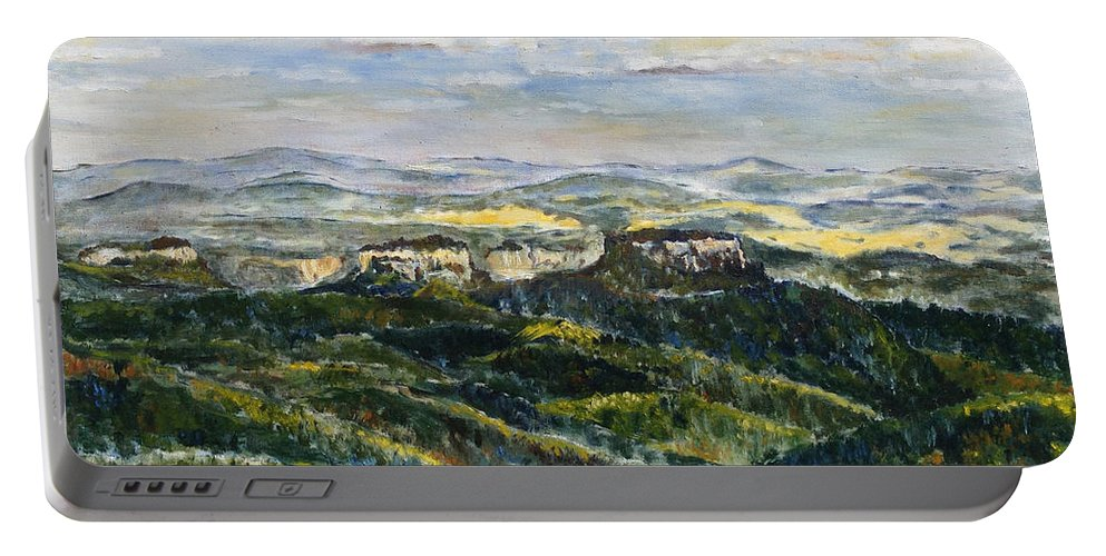 Landscape Portable Battery Charger featuring the painting Tam Bylo More by Pablo de Choros