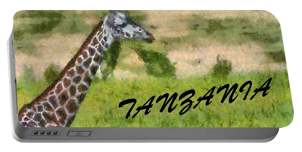 Giraffe Portrait Portable Battery Charger featuring the painting Tanzania Poster by Dan Sproul