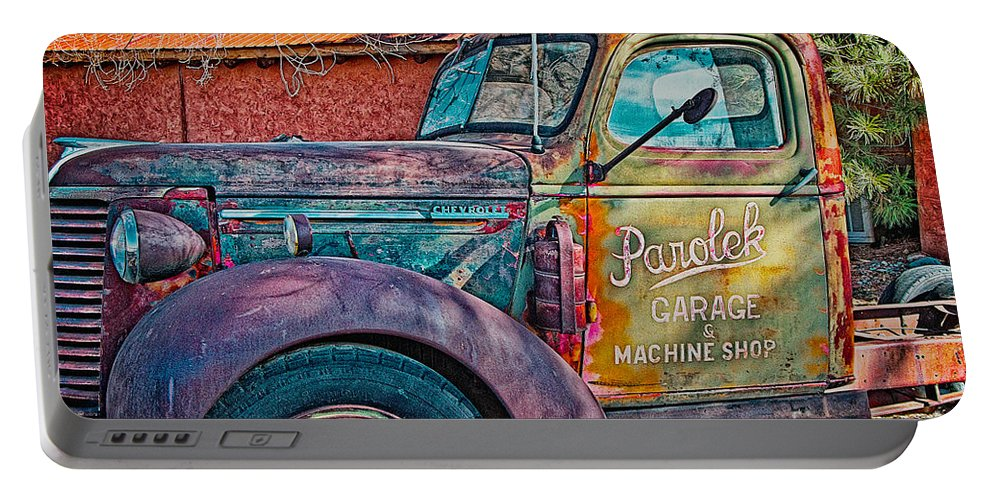 Pickup Portable Battery Charger featuring the photograph Taos Chevy by Charles Muhle