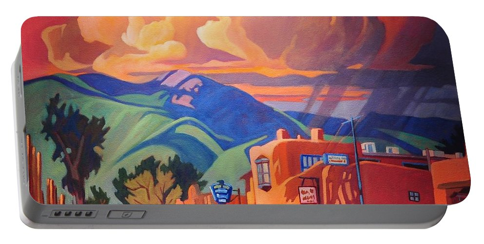Taos Portable Battery Charger featuring the painting Taos Inn Monsoon by Art West