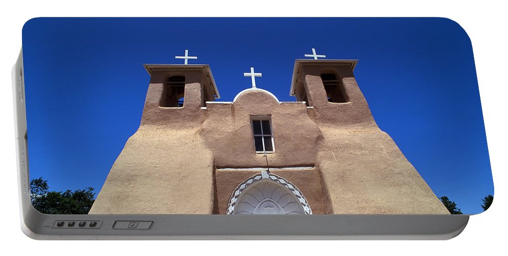 New Mexico Portable Battery Charger featuring the photograph Taos Mission by Rich Franco