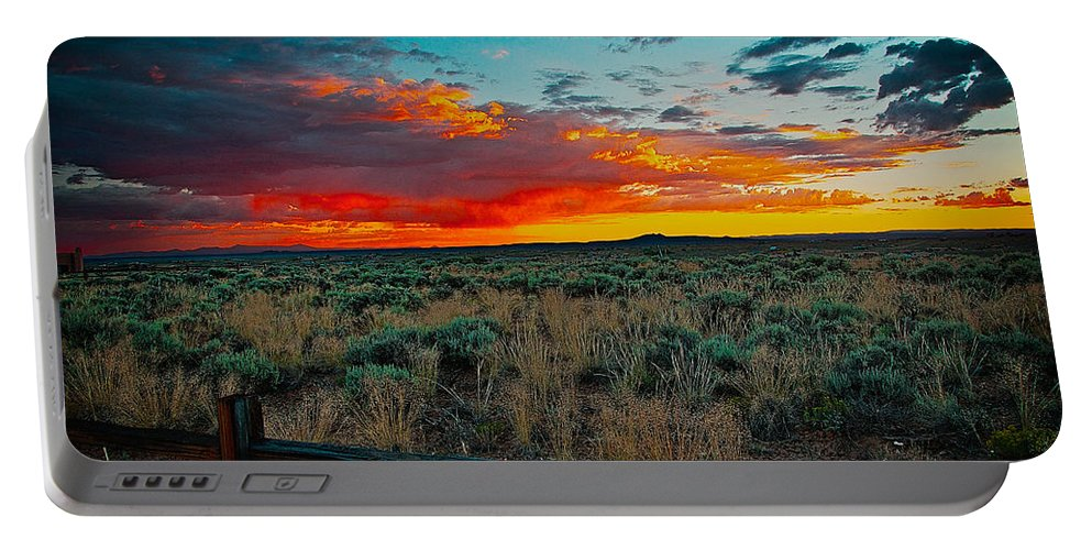 Santa Portable Battery Charger featuring the mixed media Taos Sunset Xi by Charles Muhle