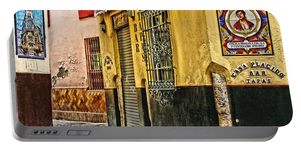 Tapas Bar Portable Battery Charger featuring the digital art Tapas Bar In Sevilla Spain by Greg Matchick