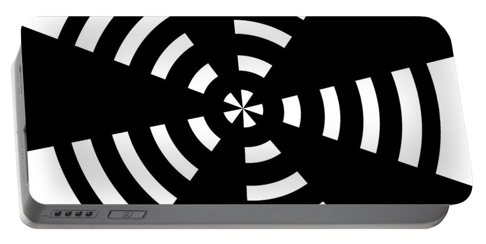 Black White Expressionism Target Circle Circles Arrow Arrows Abstract Portable Battery Charger featuring the painting Target 2 by Steve K