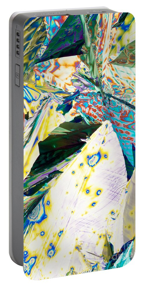 Abstract Portable Battery Charger featuring the photograph Tartaric Acid Microcrystal Polarized Light Color Art by Stephan Pietzko