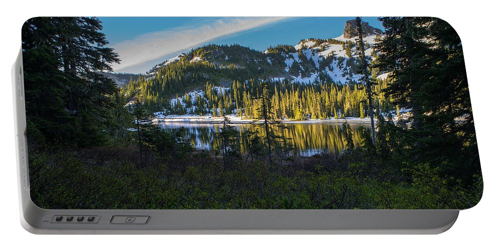 Rainier Portable Battery Charger featuring the photograph Tatoosh Peek by Mike Reid
