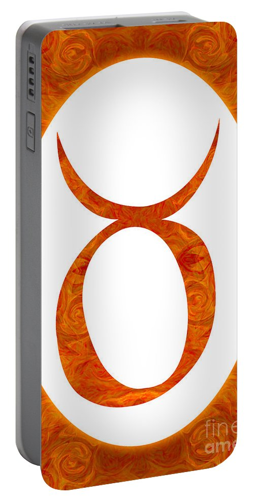 Taurus Portable Battery Charger featuring the digital art Taurus And Sacral Chakra Abstract Spiritual Artwork By Omaste W by Omaste Witkowski