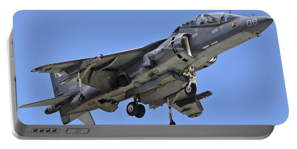 Usmc Portable Battery Charger featuring the photograph Tav 8b Harrier Jump Jet by Paul Fearn