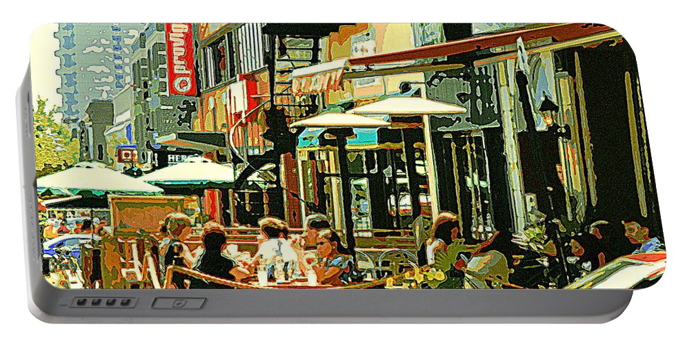 Cafes Portable Battery Charger featuring the painting Tavern In The Village Urban Cafe Scene - A Cool Terrace Oasis On A Busy Hot Montreal City Street by Carole Spandau