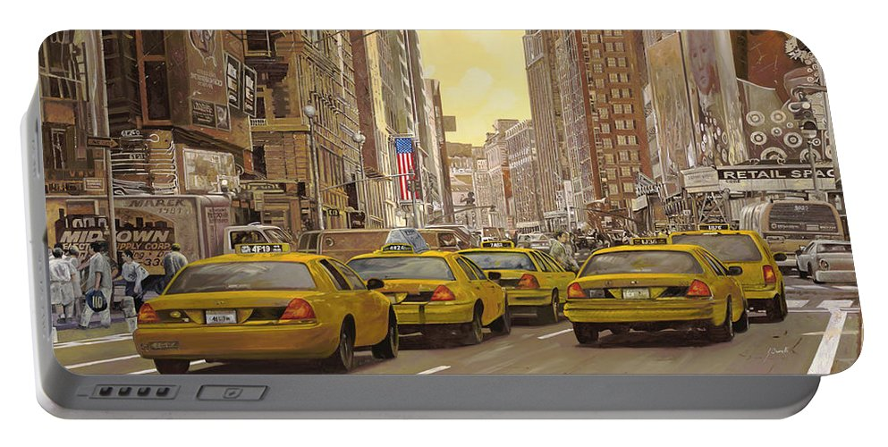 New York Portable Battery Charger featuring the painting taxi a New York by Guido Borelli