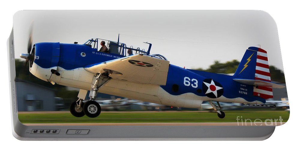 Grumman Tbmavenger Portable Battery Charger featuring the photograph Tbm Avenger by Tommy Anderson