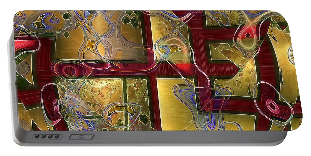 Abstract Portable Battery Charger featuring the painting Tea Ceremony by RC DeWinter