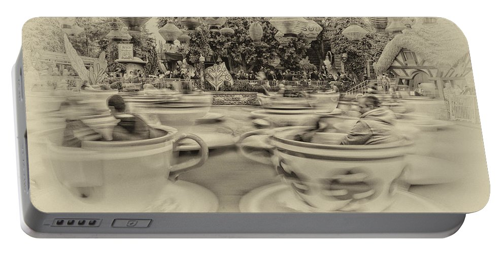 Disney Portable Battery Charger featuring the photograph Tea Cup Ride Fantasyland Disneyland Heirloom by Thomas Woolworth