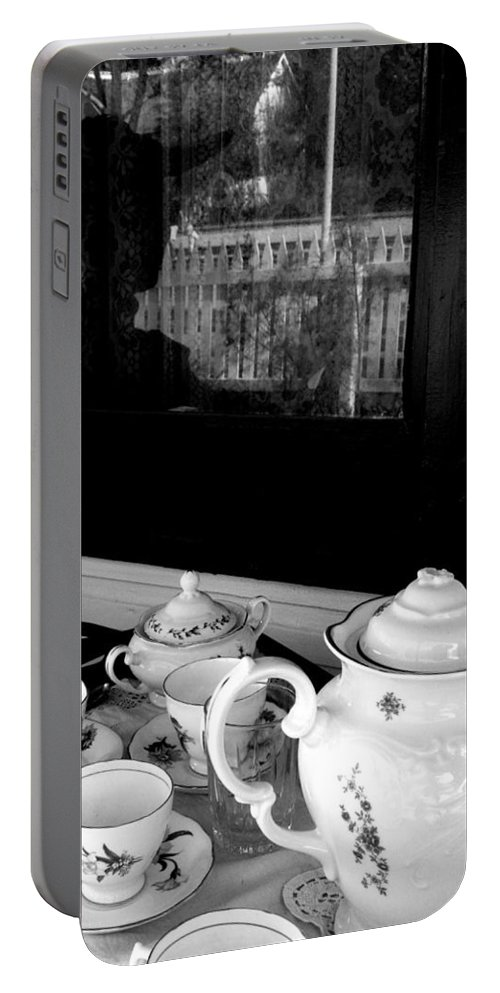 Black And White Photography Portable Battery Charger featuring the photograph Tea For Two by The Artist Project