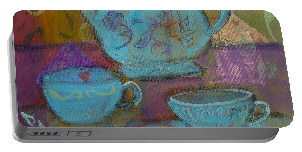Tea Portable Battery Charger featuring the painting Tea Spot by Robin Maria Pedrero