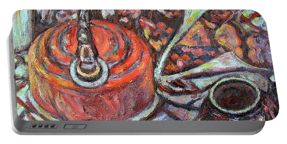 Still Life Portable Battery Charger featuring the painting Tea Time by Kendall Kessler
