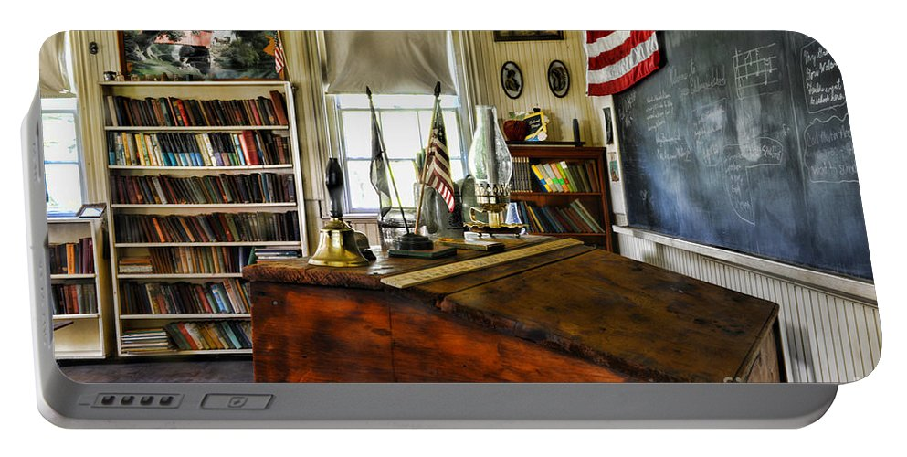 Paul Ward Portable Battery Charger featuring the photograph Teacher - Vintage Desk by Paul Ward