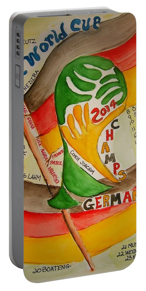 Soccer Portable Battery Charger featuring the painting Team Germany Fifa Champions by Elaine Duras