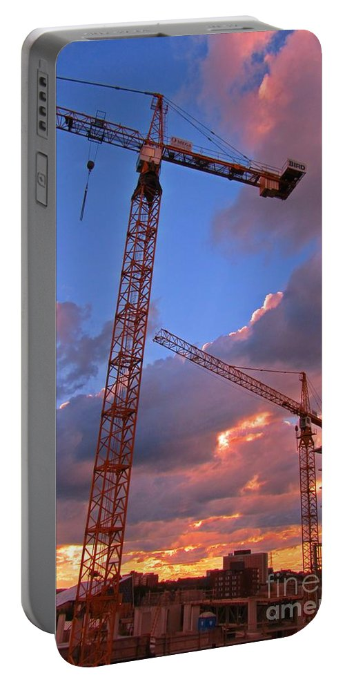 Construction Towers Portable Battery Charger featuring the photograph Technology Contrasts With Nature by John Malone